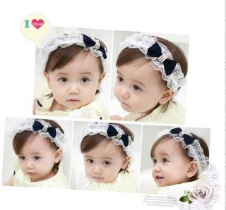 New Beautiful Lace Girls Baby Hair Headband Fabric Bow Knot 5 Colours Free SHIP