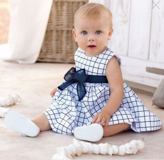Bid T131 Baby Girls Princess Plaid Lace Belt Bow Dress Kids Cocktail Dress 2T