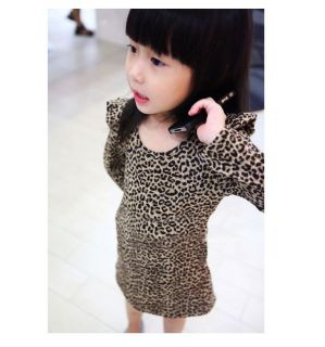 Baby Girls Clothes Kids Long Sleeve Shrug Shoulder Dress Girls Leopard Dresses