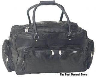 "23"" Black Leather Tote Bag Duffle Gym Large Lined New 024409110146"
