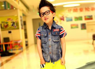 New Casual Boys Top Kids Fashion Denim Short Sleeve Jacket 2 7Y Clothes BC015