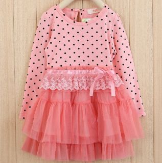 New Kids Toddlers Dot Princess Cotton and Tulle Cake Dress 2 7Y Clothes AD007