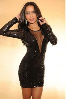 Women Sexy Deep V Neck Long Sleeved Backless Slim Black Sequins Dress