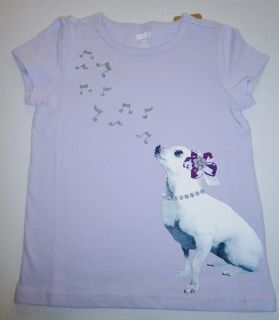 Girls Crazy 8 Lavender Purple Shirt Chihuahua Dog Musical Notes Puppy T