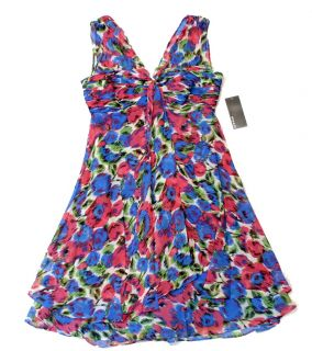 New Donna Ricco Women's Sexy Pink Blue Flyaway Dress 4