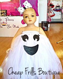 Baby Infant Toddler Girl Ghost Tutu Halloween Costume Dress Hair Bow 1 2T 3T 4T