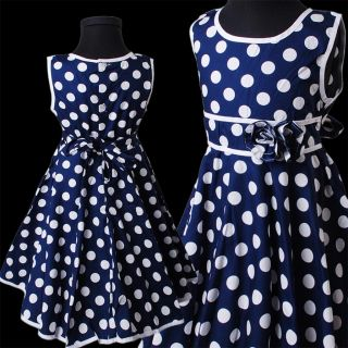 Blue Polka Dot Dress White