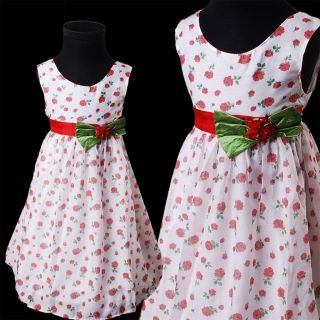 KD328 Bonny Billy Girl Spring Safflower Pattern Printed Sleeveless Dress 3 12y