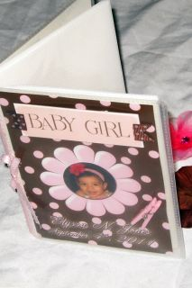 Baby Girl Custom Personalized Photo Album Handmade Polka Dots Brown Pink Gift