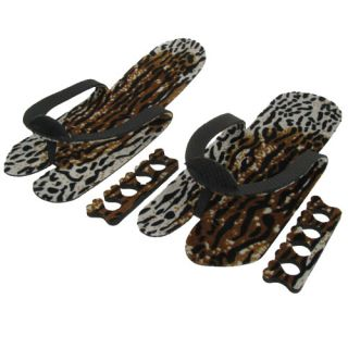 Japanese Style Leopard Print Flip Flops Toe Separators One Size Ideal Gift