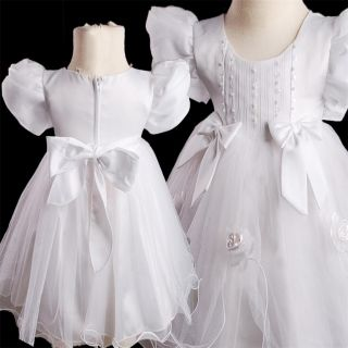 KD342 White Baby Flower Girls Baptism Wedding Pageant Dress 6 24months