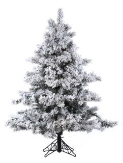 4 5' Flocked Alaskan Artificial Christmas Tree Unlit
