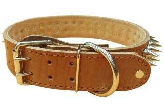 Genuine Calf Leather Spiked Dog Studded Collar Brown