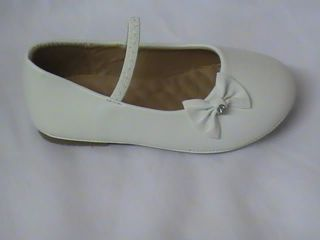 Girls White Ballet Flats w Little Bow TG Toddler Sz 5
