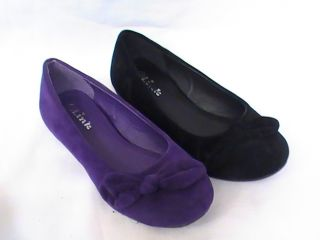 Girl Suede Ballet Flats w Bow LETICIA43 Youth Flower Girl Pageant Dress Shoes