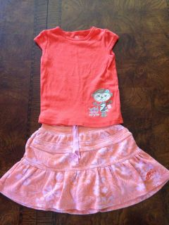 Baby Girl 3T Outfit Gap Skirt Carter's Shirt Infant Toddler Clothing Pink Monkey