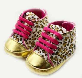BID200 Y050 Leopard Gold Color Infant Toddler Baby Shoes Size 6 12 Months