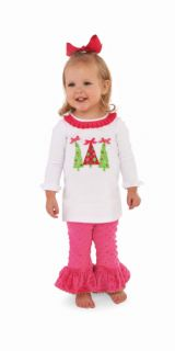 Mud Pie Christmas Baby Infant Girls Triple Tree Tunic Flared Pants 0M 3T