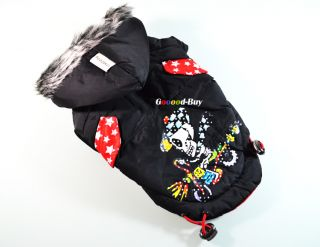Cool Pet Dog Puppy Apparel Cloth Clothing Winter Warm Coat Black Skull Pattern