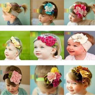 Cute Baby Girl Infant Toddler Cotton Flower Headband Headwear Soft Hair Band