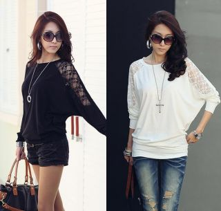 New Womens Korean Fashion Bat Long Sleeve Lace Stitching T Shirts E210