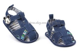 Baby Boy's Mickey Mouse Denim Sandals Crib Shoes Size 0 6 6 12 12 18 Months