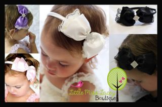 Lace Satin Bow Headband Baby Girl Matches Tutu Dress Little Miss Lacey ©