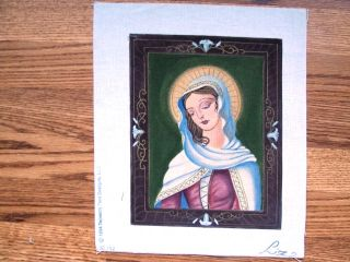 Our Lady of The Sacred Heart Hand Painted Needlepoint Canvas Liz AP232 24 Count