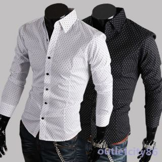 Men's Slim Fit Casual Dress Polka Dot Long Sleeved Shirts 2 Colors M L XL XXL
