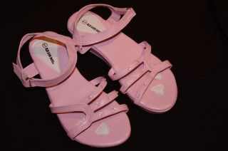 Girls Pink Strap Sandals Dress Fancy Wedge Heel Shoes Velcro 12 1 2 3 4 New