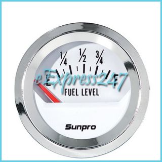 New Sunpro CP8209 Styleline Electrical Fuel Level Gauge White Dial
