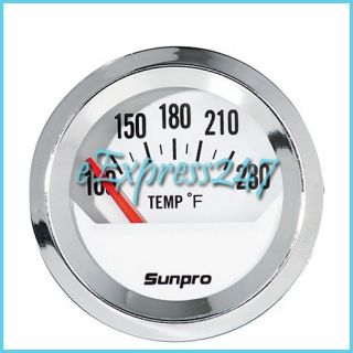 Sunpro CP8201 Styleline Electrical Water Oil Temperature Gauge White Dial