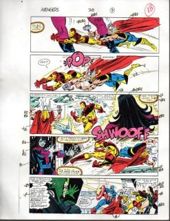 Original Avengers Marvel Color Guide Art Page 13 Captain America Iron Man Thor