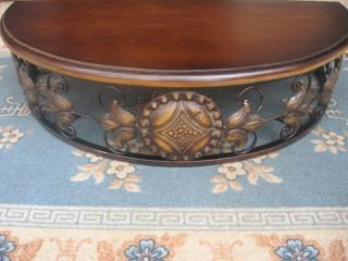 Tuscan Metal Wood Wall Shelf Bracket Accent Table