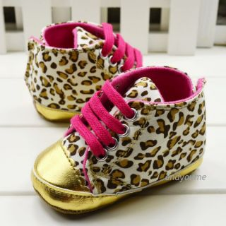 New Baby Girl Infant Toddler Leopard Gold Crib Shoes Walking Sneaker Size 1 2 3