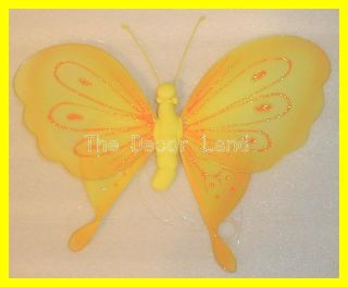 "10"" Yellow Butterfly Wall Hanging Decoration for Girls Room Diva Princess"