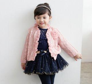 3pcs Girl Baby Kids Toddler Top Coat T Shirt Skirt Tutu Princess Clothes Outfit