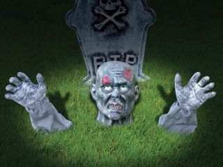 Zombie Arm Head Lawn Stakes Garden Ornament Halloween Grass Decoration Prop
