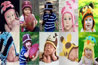 Cute New Handmade Newborn Baby Child Girls Boys Crochet Baseball Hat Photograph