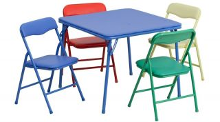 Kids Play Folding Table and Four Chairs 5 PC Set Age Appropriate 2 6 Years