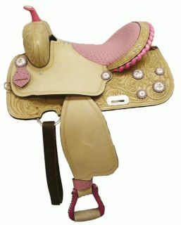 "Double T 16"" Half Seat Ostrich Print Barrel Saddle"