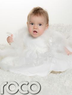 Baby Girls White Christening Dress Fur Traditional Embroidered Baptism Gown