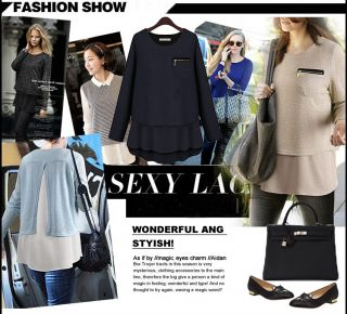 New Women Crew Neck Chiffon Shirt Knit Sweater Tops Long Sleeve Blouse Pullover