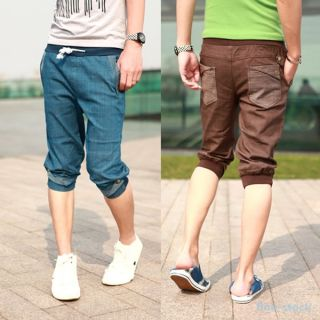 Korean Style Mens Boys Casual Pants Jeans Trousers Pencil Skinny Shorts Cropped