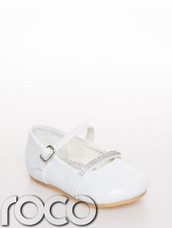 Baby Girls White Diamante Strap Formal Party Wedding Flowergirl Communion Shoes