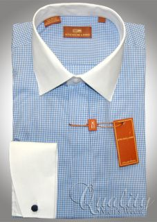 Steven Land 18 5 36 37 White Collar Cuff Blue Micro Box Pattern Mens Dress Shirt