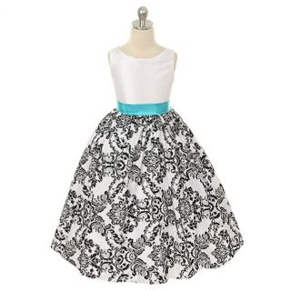 Kids Dream Girls 12 White Turquoise Velvet Flocked Flower Girl Dress