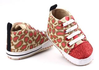 Baby Girl Giraffe Pattern Soft Sole Crib Shoes Sneaker Size Newborn to 18 Months