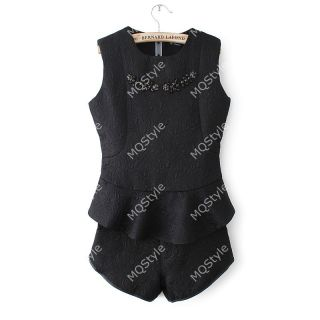 New Womens Fashion Crewneck Lace Sleeveless Pleated Jumpsuits Romper Short B2796