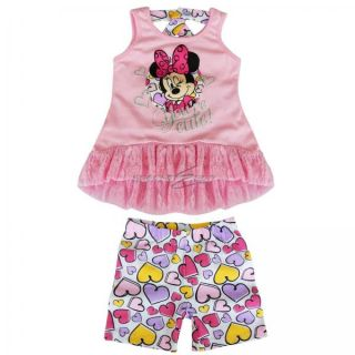 Minnie Mouse Baby Toddlers Girls 2pc Sets Outfit Lace Top Dress Pants Shorts 3T